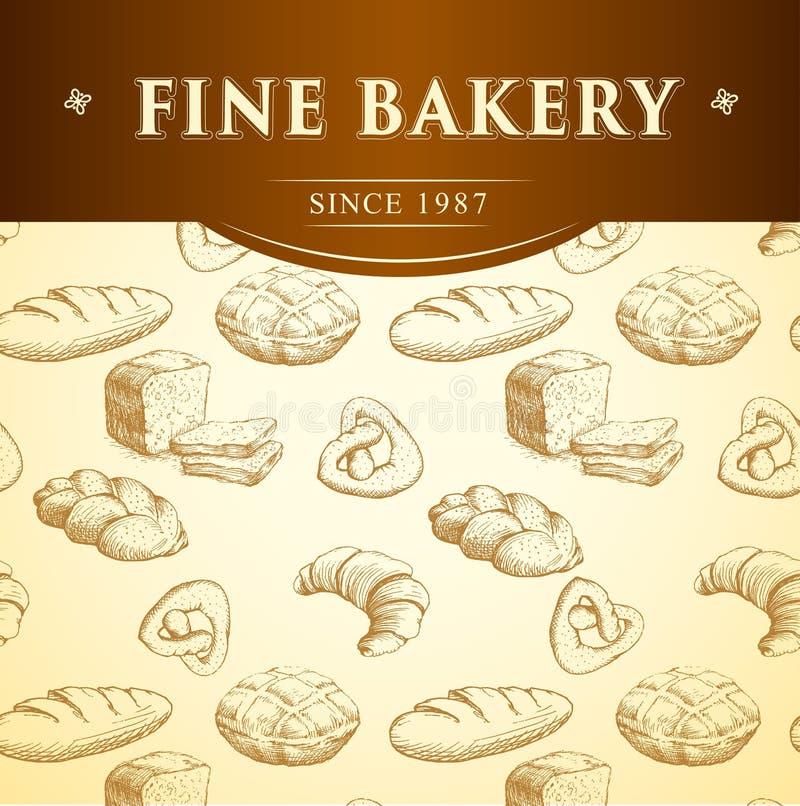 Pão da padaria Teste padrão sem emenda do fundo ilustração royalty free