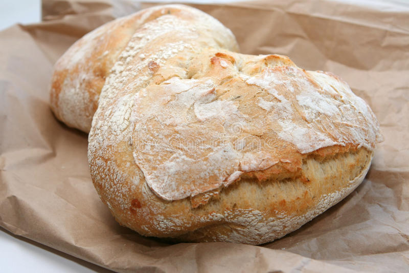 Pão de Ciabatta no saco marrom foto de stock