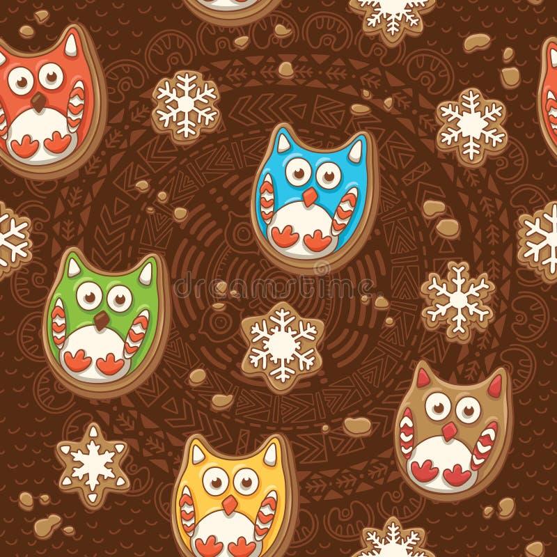 Pão-de-espécie do Natal do vetor Teste padrão das cookies do gengibre com corujas ilustração royalty free