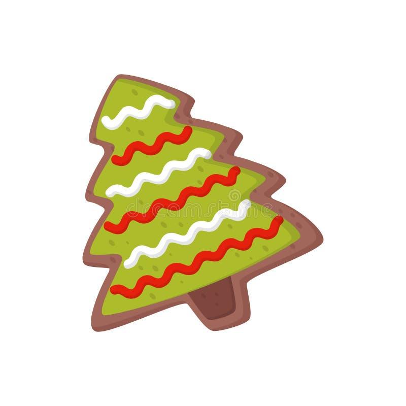 Pão-de-espécie doce na forma da árvore de Natal Cookie deliciosa do biscoito decorada com crosta de gelo colorida Ícone liso do v ilustração royalty free