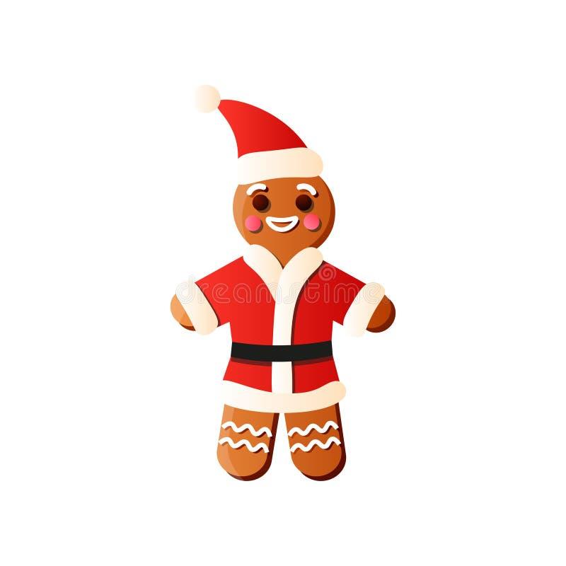 Pão-de-espécie fresco do xmas Santa com chapéu vermelho e sorriso cremoso ilustração do vetor