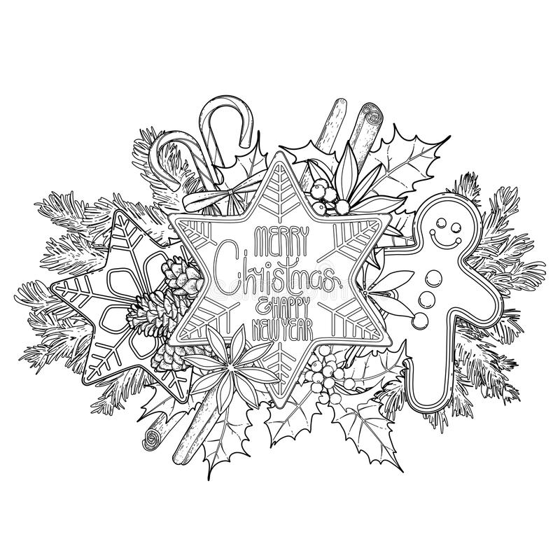 Pão-de-espécie gráfico do cartão de Natal ilustração royalty free