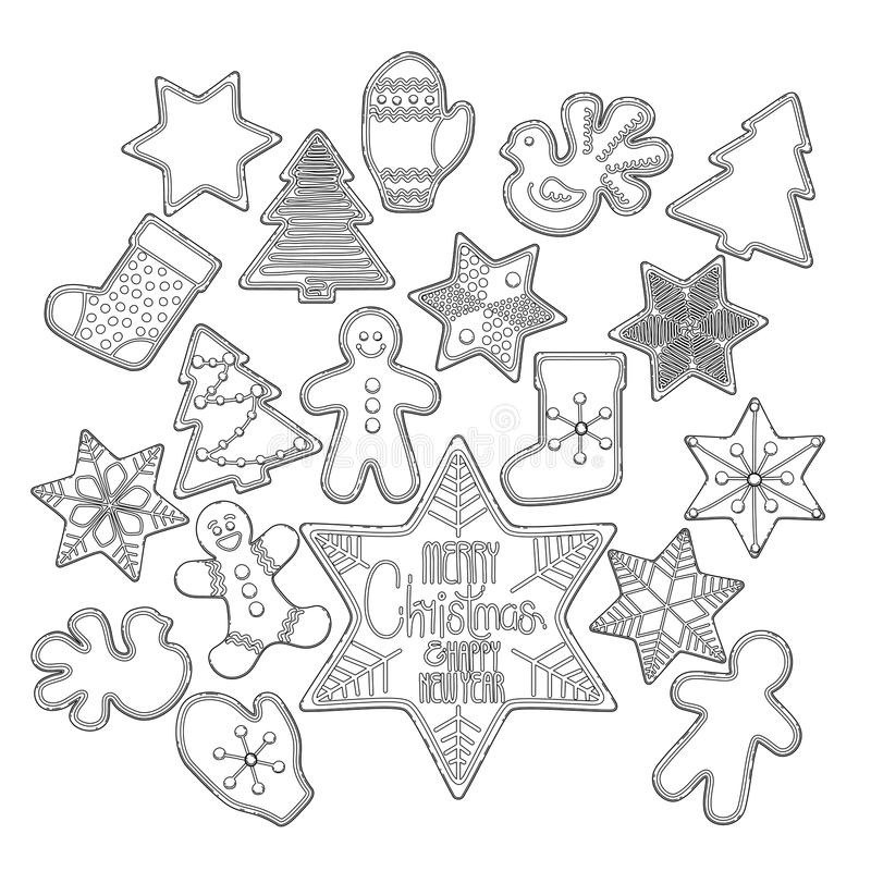 Pão-de-espécie gráfico do Natal ilustração do vetor