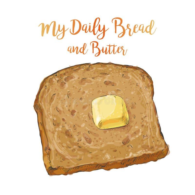 Pão de mistura do vetor com manteiga ilustração do vetor
