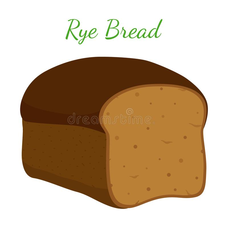 Pão de Rye, naco inteiro da grão, padaria, pastelaria Estilo dos desenhos animados Vetor ilustração do vetor