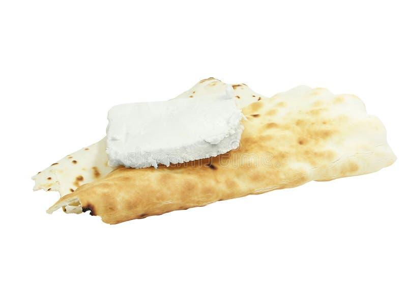 Pão de Spianata de Ozieri e queijo fumado de Ricotta fotos de stock royalty free