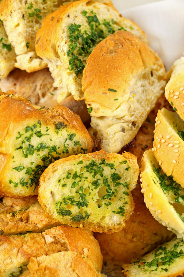 Pão do alho e da erva fotos de stock