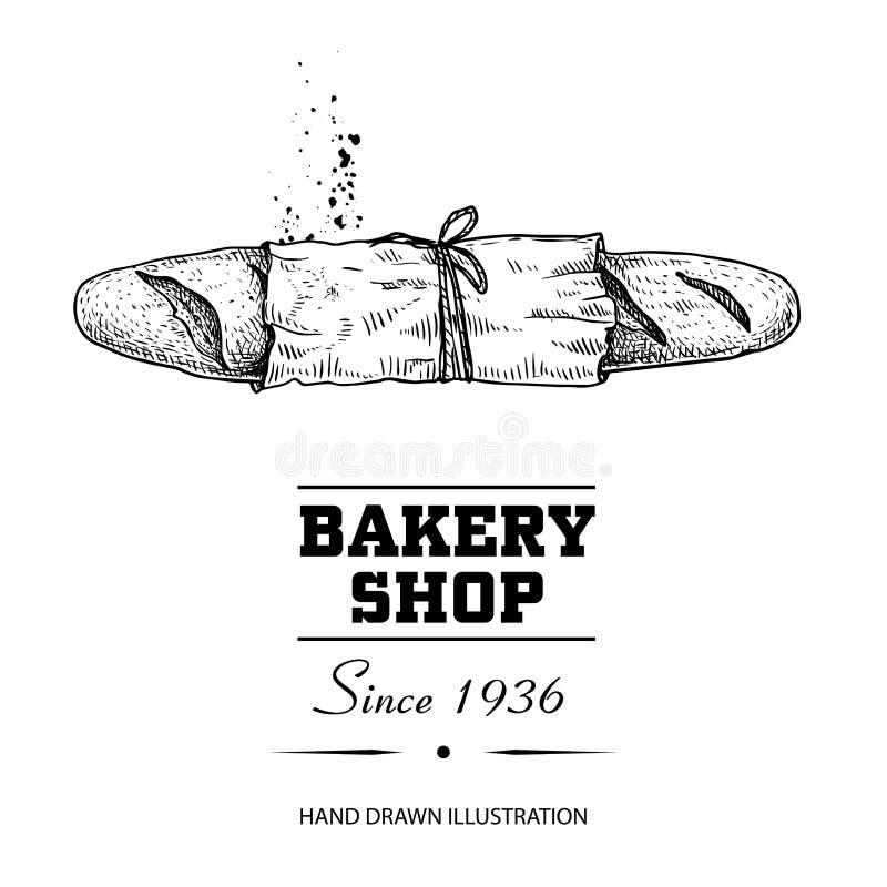 Pão do Baguette no desenho de esboço de papel da vista superior Produto tirado mão da loja da padaria do estilo do esboço Manhã f ilustração royalty free