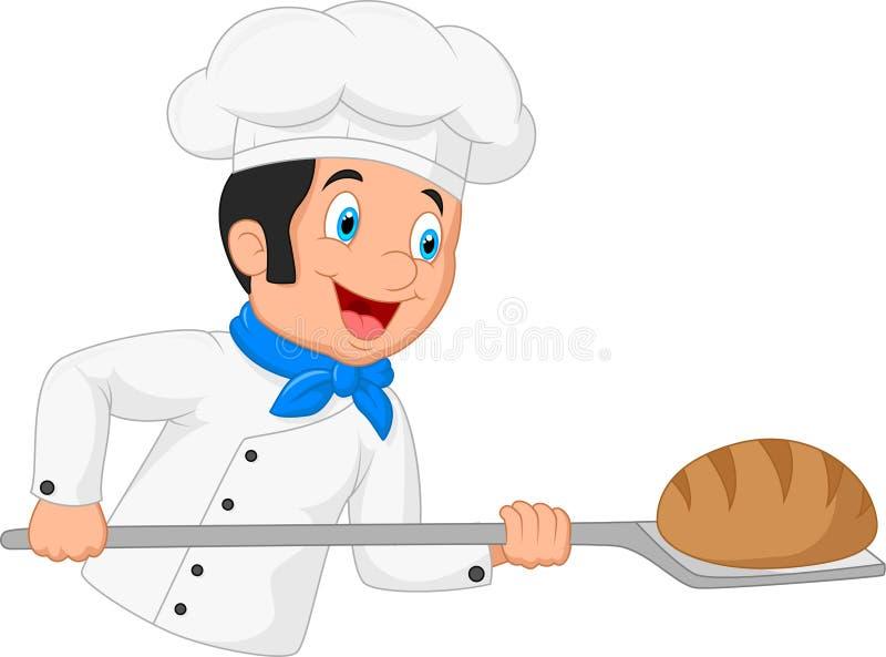 Pão do cozinheiro do cozinheiro chefe dos desenhos animados ilustração stock