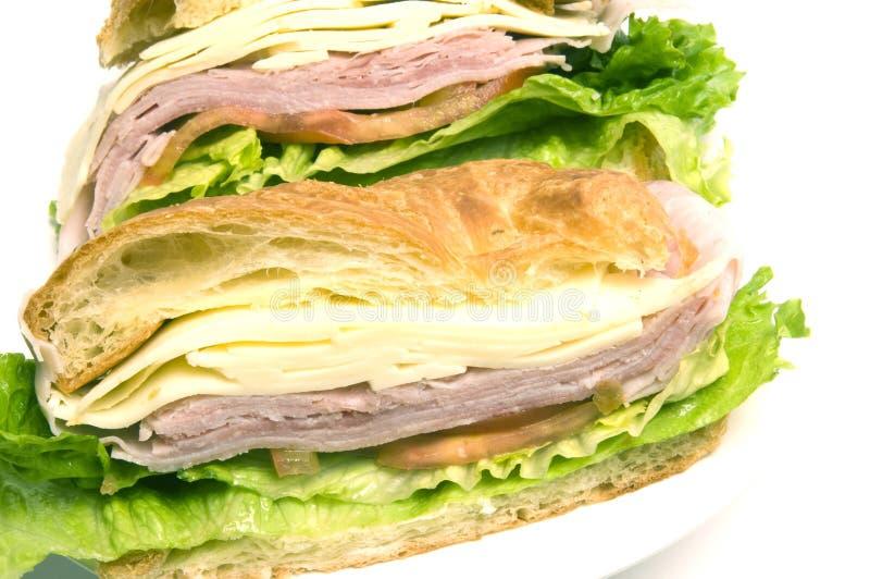 pão do croissant do sanduíche do queijo suíço do presunto fotografia de stock royalty free