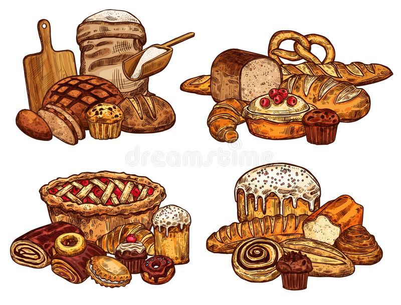 Pão do esboço do vetor e alimento da padaria ilustração do vetor