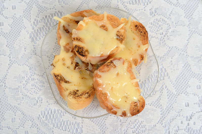 Pão do queijo do alho da vista superior foto de stock royalty free