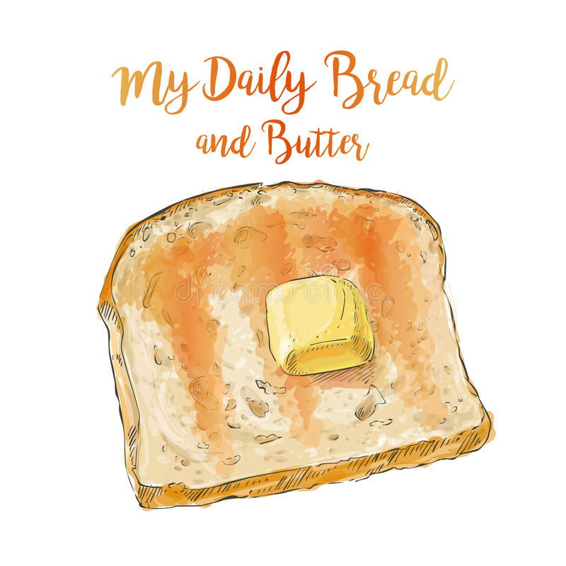Pão do vetor com manteiga ilustração stock