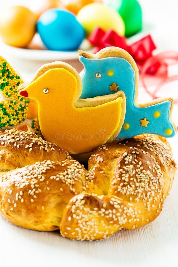 Pão doce da Páscoa fotos de stock royalty free
