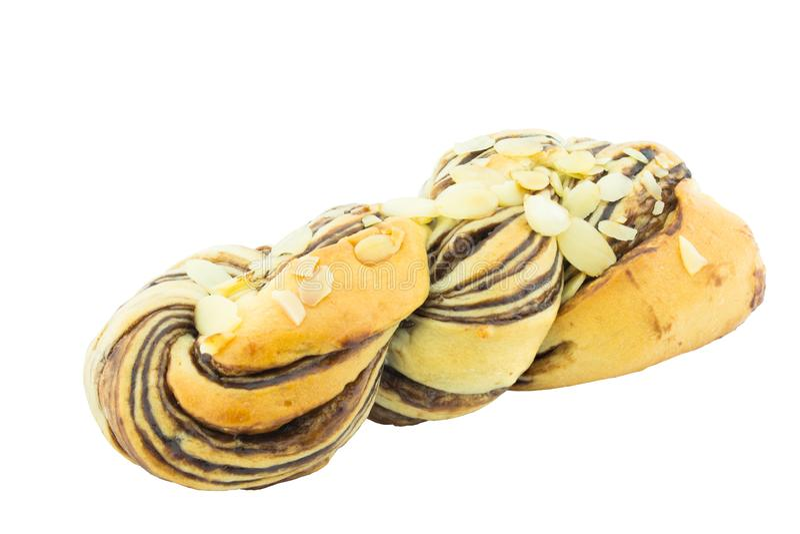 Pão e amêndoa na parte superior fotografia de stock royalty free