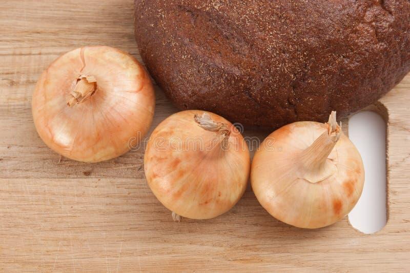 Pão e cebolas de Rye imagens de stock