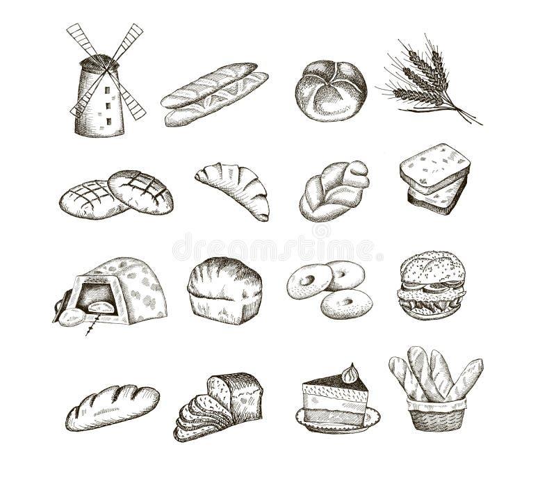Pão e cozimento ilustração stock