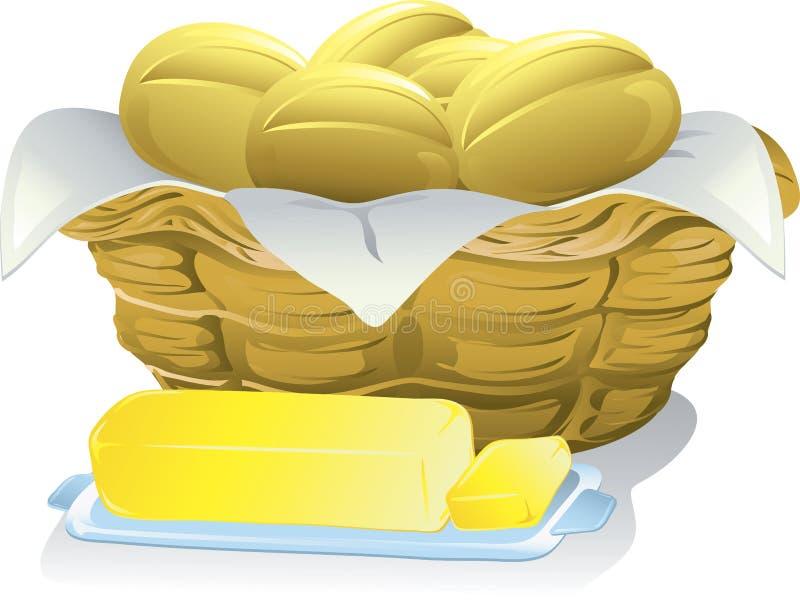 Pão e manteiga ilustração do vetor