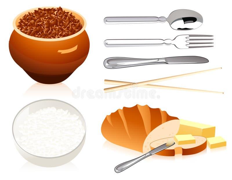 Pão e tampa do arroz do trigo mourisco ilustração stock