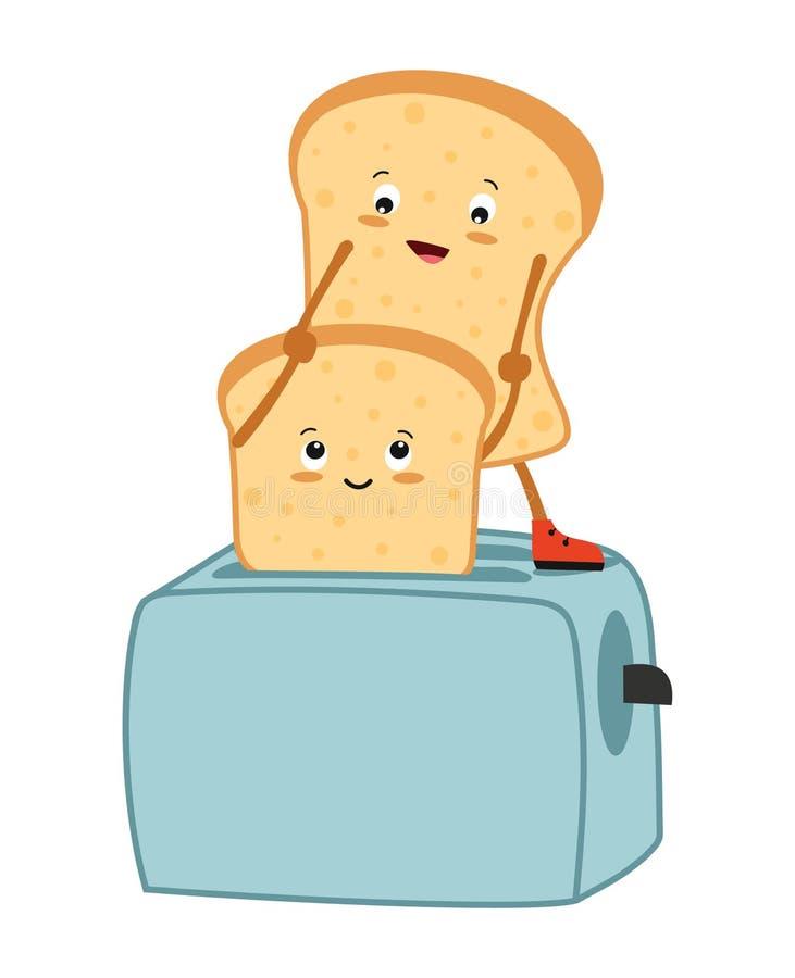 Pão e torradeira do brinde Ilustração do vetor ilustração stock