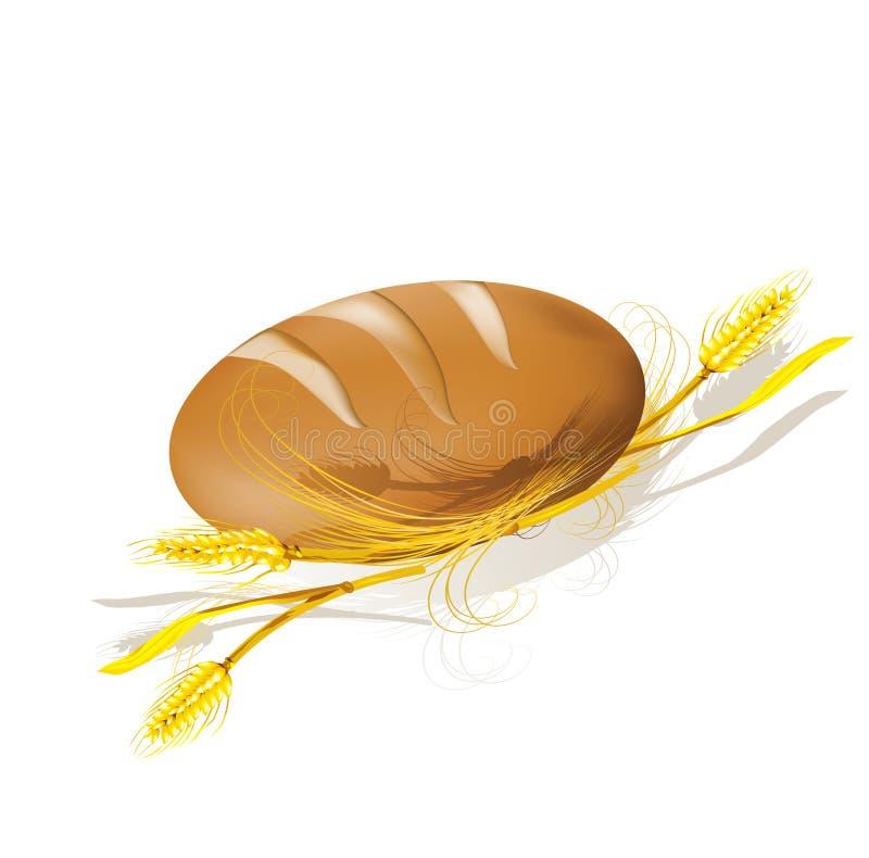 Pão e trigo. ilustração stock