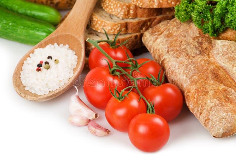 Pão e vegetais fotos de stock