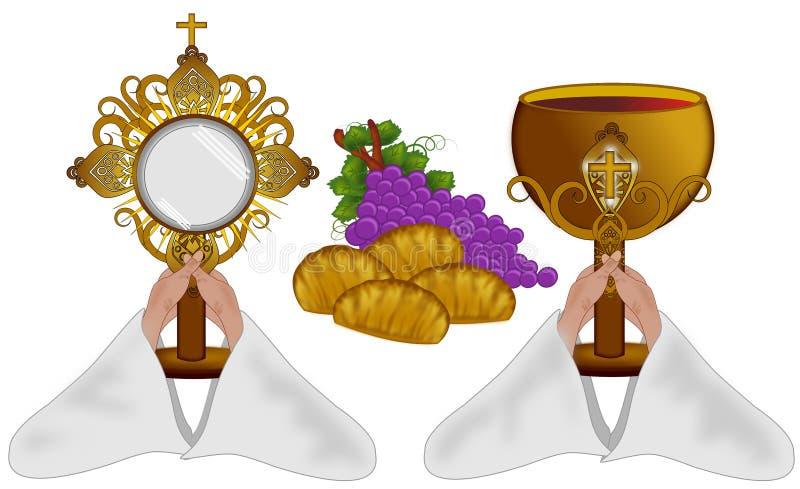 Pão e vinho ilustração do vetor