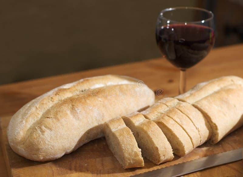 Pão e vinho fotografia de stock