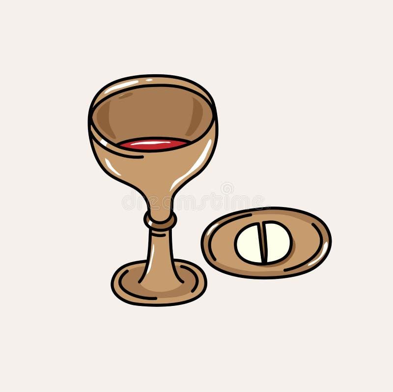 Pão e vinho no Eucaristia santamente, projeto da ilustração ilustração stock