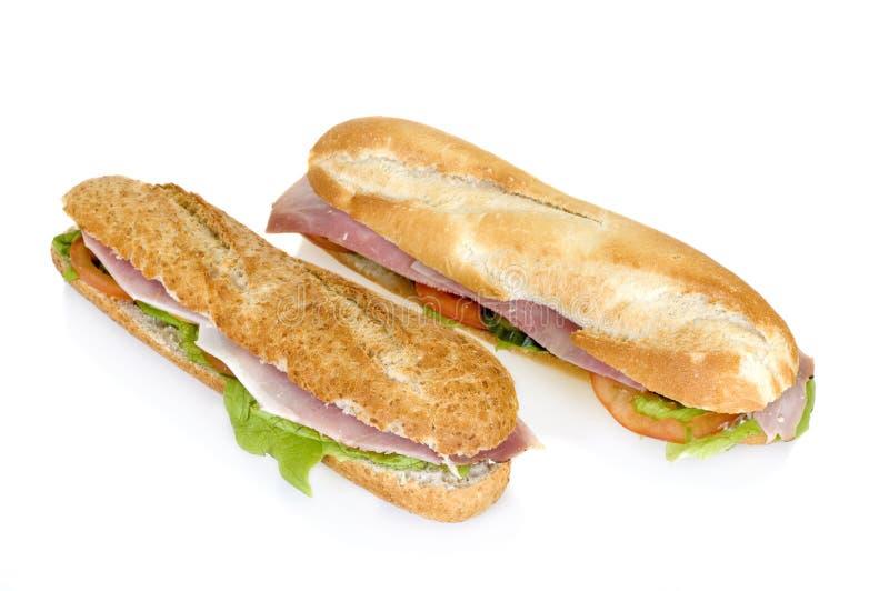 Pão francês do presunto e do queijo foto de stock
