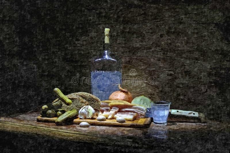 Pão fresco, banha caseiro e uma garrafa do luar Ainda vida rústica Aquarela molhada de pintura no papel Arte ingénua ilustração royalty free