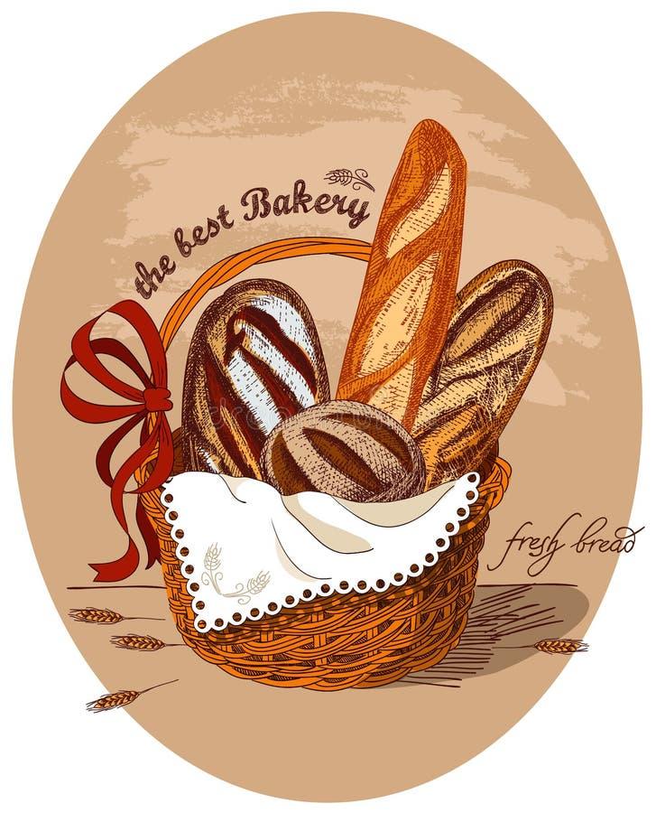 Pão fresco na cesta ilustração royalty free