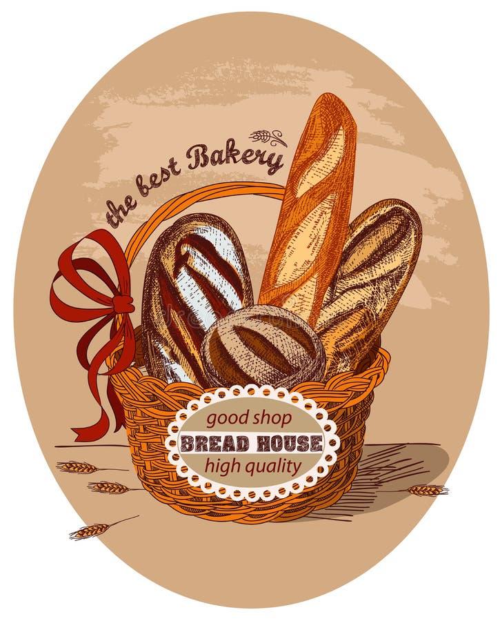 Pão fresco na cesta com etiqueta ilustração stock