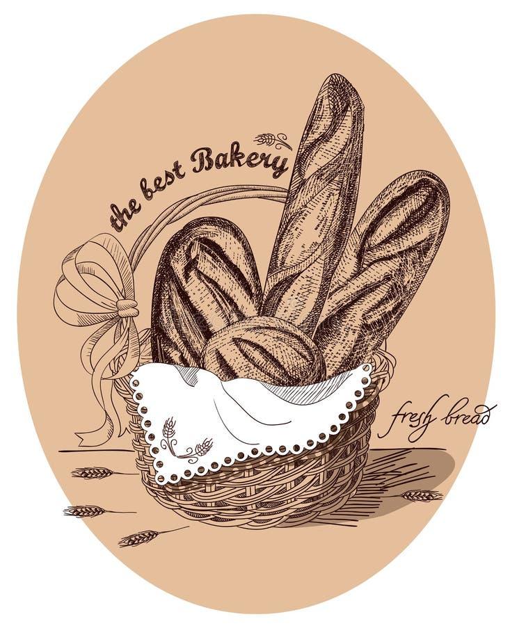 Pão fresco na cesta com texto ilustração stock