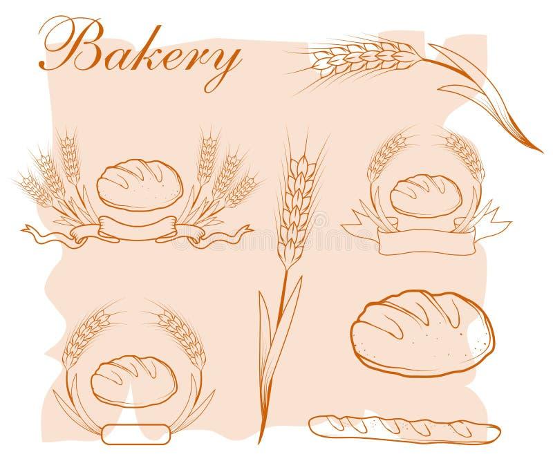 Pão fresco Produtos da padaria ilustração royalty free