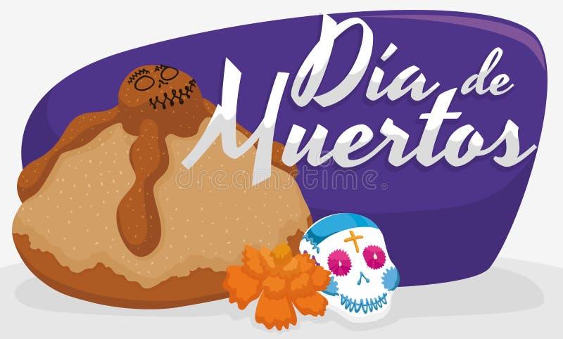 Pão inoperante, Sugar Skull e cravo-de-defunto para & x22; Dia de Muertos & x22; , Ilustração do vetor ilustração do vetor