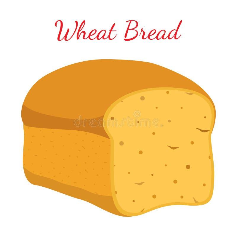 Pão integral, naco inteiro da grão, padaria, pastelaria Estilo dos desenhos animados VE ilustração do vetor