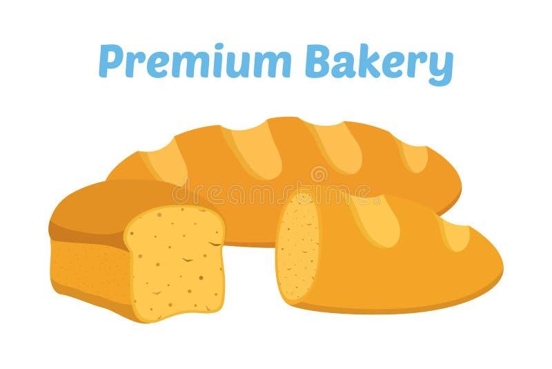 Pão, naco inteiro da grão, padaria, pastelaria Estilo liso dos desenhos animados Vetor ilustração stock
