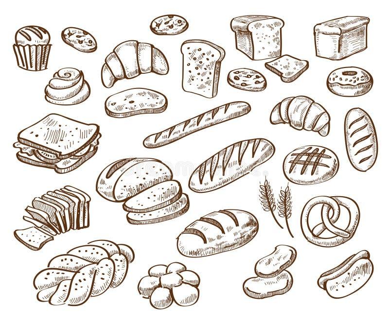Pão no fundo branco ilustração do vetor