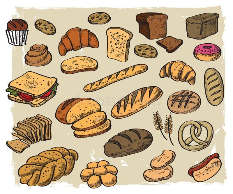 Pão no fundo branco ilustração stock