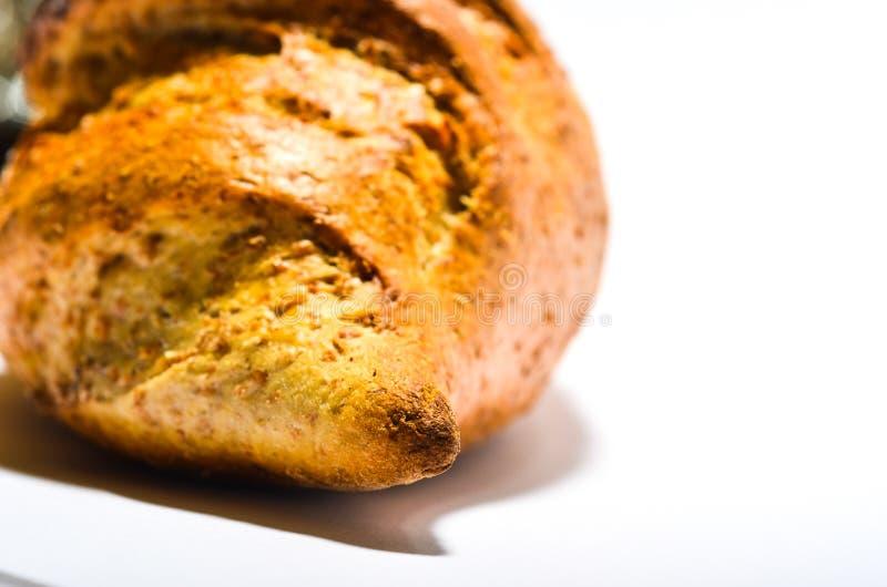 Pão no fundo branco imagem de stock