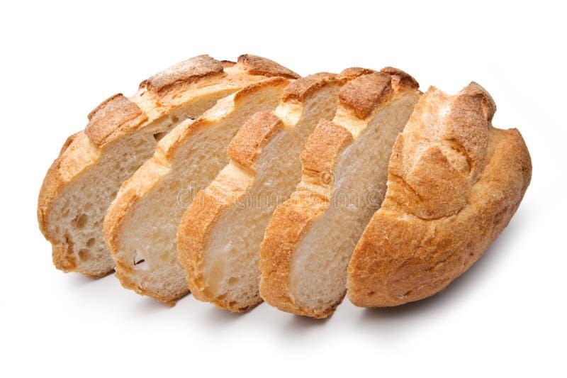 Pão redondo caseiro tradicional, cortado fotografia de stock