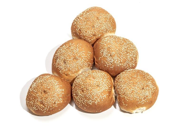 Pão Rolls arranjado na forma do triângulo imagem de stock royalty free