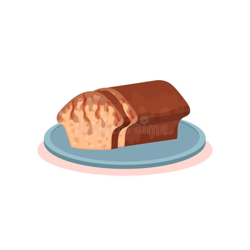 Pão romeno de easter do cozonac em uma ilustração nacional do vetor do prato do alimento da culinária búlgara da placa em um fund ilustração do vetor