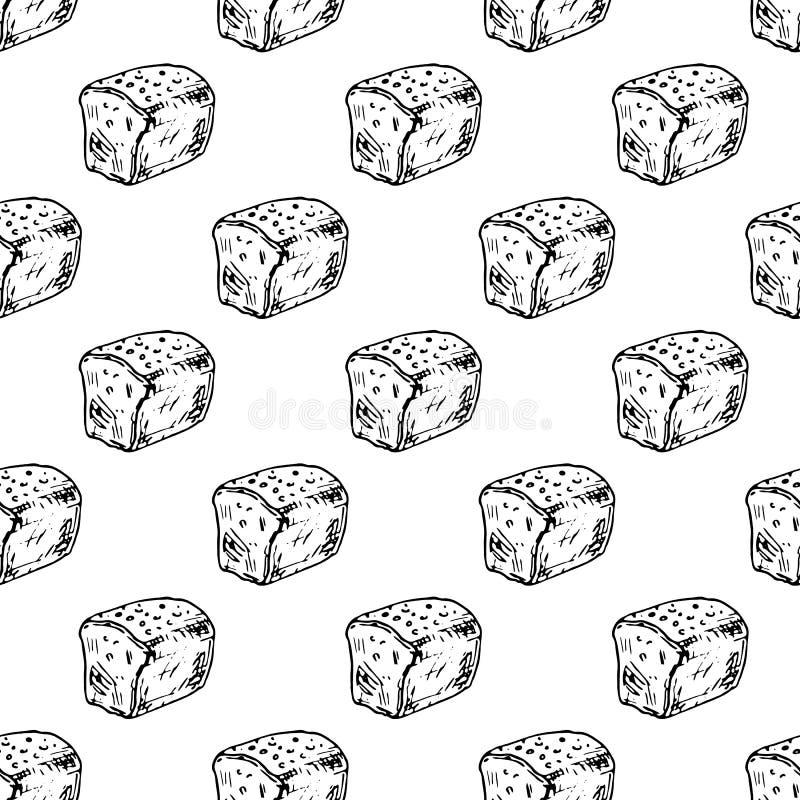 Pão tirado do teste padrão mão sem emenda Esboço do preto da garatuja r ilustração stock