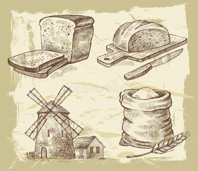 Pão tirado mão ilustração stock