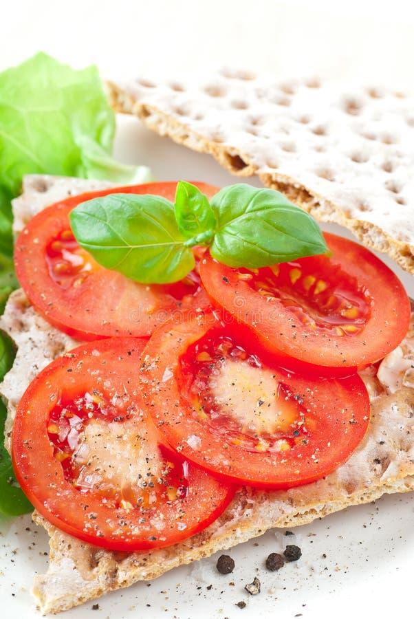 Pão torrado com tomate fotografia de stock