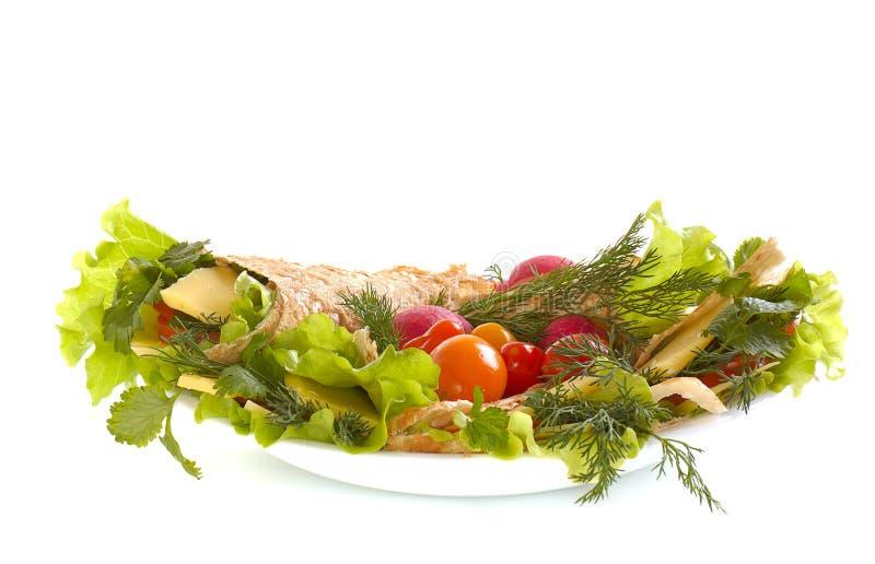 Pão Unleavened com vegetais imagens de stock