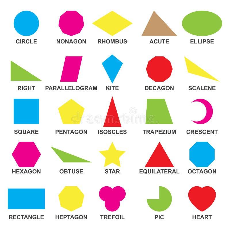 Pädagogische geometrische Formen eingestellt Verständnis des Geometrieplakats für das Unterrichten und das Lernen in der Schule V stock abbildung