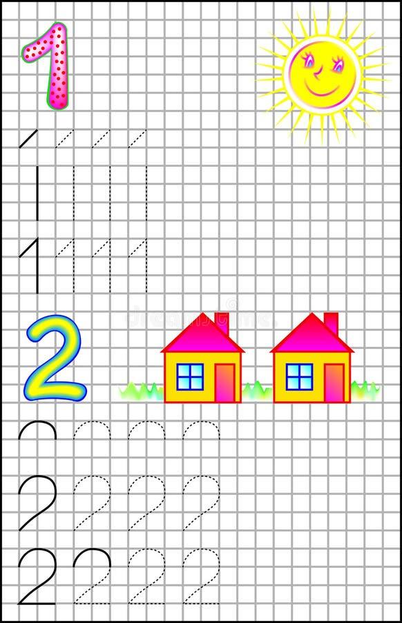 Pädagogische Seite für Kinder auf einem quadratischen Papier mit Nr. 1 und 2 vektor abbildung
